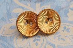 Antique - Large golden button earrings. $6.00, via Etsy.