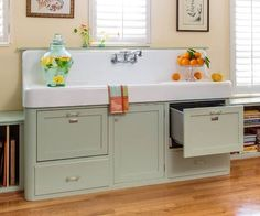 Brilliant! Vintage sink with dishwasher drawers in a custom cabinet (This Old House on Tumblr)