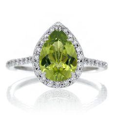 14K White Gold Pear Cut Peridot Engagement Ring Shape Diamond Halo Alternative Engagement Solitaire Wedding Anniversary Gemstone Ring
