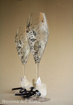 CRYSTAL Glasses Hand Painted Wedding Toasting by NevenaArtGlass, $65.00