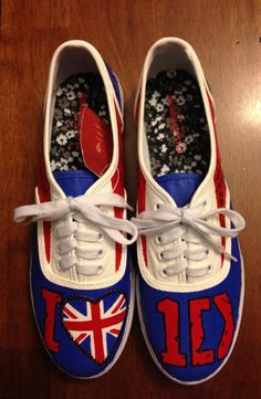 One Direction shoes I painted for my daughters BFF to wear to their concert.