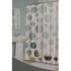 Geometric Circles Vinyl Bathroom Shower Curtain Bulls Eye Print Blue Green NIP