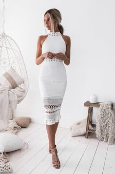 Rivers Midi Dress in White | The perfect dress #twosistersthelabel