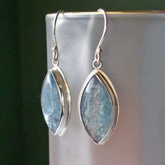 Handmade Sterling Silver Kyanite Earrings Bezel Set by HEvansGems, $79.00