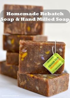 Hot process (crock pot) soap recipe that uses soap ends, soap scraps and green tea. You can create rebatch soap, also known as, hand milled soap, with this easy recipe.