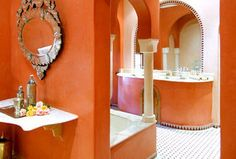 moroccan bathroom decorating with cream and orange wall paint colors Orange Rooms, Bedroom Orange, Orange Walls, Orange Bathroom Interior, Bathroom Interior Design, Moroccan Bathroom, Moroccan Decor, Moroccan Interiors, Moroccan Style