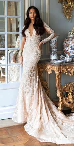 Sparkly lace mermaid wedding dress with long sleeves and statement back for the glamorous bride | Pollardi Wedding Dresses 2021 Royalty Collection - Belle The Magazine #weddingdress #weddingdresses #bridalgown #bridal #bridalgowns #weddinggown #bridetobe #weddings #bride #dreamdress #bridalcollection #bridaldress #dress See more gorgeous bridal gowns by clicking on the photo