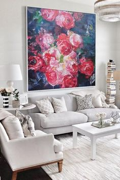Red roses. Large Abstract Flower Oil Painting, hand painted floral art painting on canvas, abstract art canvas painting.