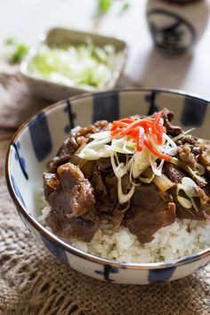 Yoshinoya copycat Gyudon Japanese beef bowls are super popular delicious and protein-packed. It take less than 15 minutes to make. Asian Recipes, Beef Recipes, Cooking Recipes, Asian Foods, Recipies, Thai Cooking, Rice Recipes, Japanese Dishes, Japanese Food