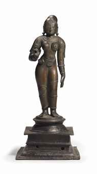 A bronze figure of Saint Andal South India, Vijayanagara period, century in. Indian Gods, Indian Art, Hindu Statues, Lord Vishnu, South India, Bronze Sculpture, 16th Century, Buddha, Saints