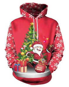 78706c405bd Miusher Ugly Christmas Sweater Unisex 3D Digital Print Funny Hooded  Sweatshirt Pullover Hoodie with Kangaroo Pockets