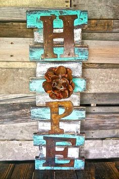 Wooden Pallet Projects Hope Wall Art - Framed etched cross wall art for sale in distressed colors Wooden Pallet Projects, Wood Pallet Signs, Pallet Crafts, Pallet Art, Wood Pallets, Wood Crafts, Wood Signs, Diy And Crafts, Diy Projects
