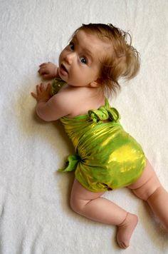 18cf770f06113 Baby Bathing Suit Metallic Lime Green Wrap Around Swimsuit Newborn and Toddler  Girls One Size Swimwe