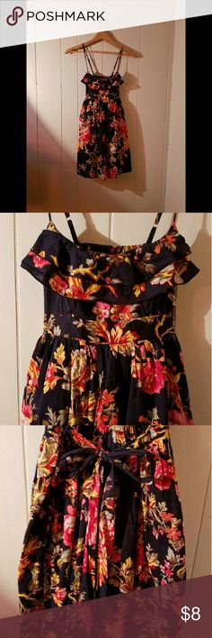 Floral Sun Dress Black/multi sundress with bow in back. Can be dressed up formal or dressed down casual! Dresses
