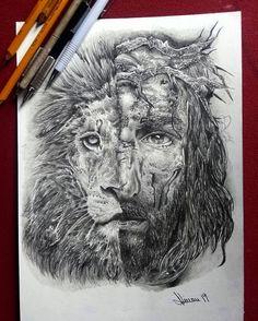 Jesus Leao de Juda Jesus Tattoo, Bible Tattoos, Jesus Drawings, Cool Art Drawings, Jesus Christ Images, Jesus Art, Christus Tattoo, Lion Of Judah Jesus, Lion Shoulder Tattoo
