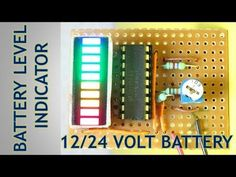 Volt Battery Level Charging Indicator This is very cool project for make a simple battery level indicator for volt battery. Battery Charger Circuit, Automatic Battery Charger, Hobby Electronics, Cool Electronics, Arduino Projects, Circuit Projects, Arduino Wireless, Electronics Projects For Beginners, 24 Volt Battery