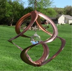 Wind Spinner Copper Crystal Garden Spinners Outdoor Backyard Decor Hanging New