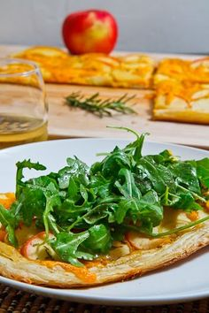 Apple and Cheddar Tart topped with Arugula [try with cranberry mustard ...