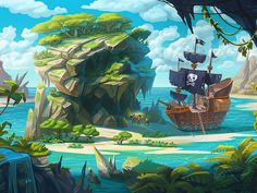 St. George's island by Inkration - Dribbble Fantasy Landscape, Landscape Art, Fantasy Art, Environment Concept Art, Environment Design, Illustrations, Illustration Art, Wie Zeichnet Man Manga, Pirate Island