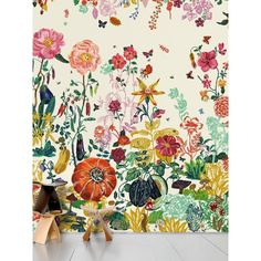 Domestic Home Jardin Creme Printed Wallpaper (€590) ❤ liked on Polyvore featuring home, home decor, wallpaper, multi, flowered wallpaper, flower pattern wallpaper, cream floral wallpaper, cream wallpaper and garden wallpaper