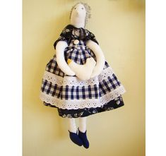 Art soft cloth doll the old woman with a by UkrainianTextileDoll