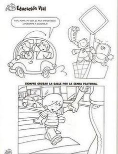 DIBUJOS PARA COLOREAR DE EDUCACIÓN VIAL Transportation Unit, Summer Art Projects, Coloring Pages, Preschool, Teaching, Signs, Sketches, Classroom, Baby