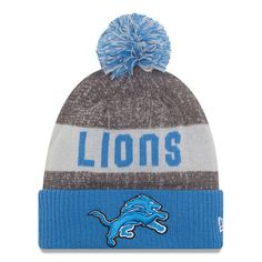 ce268a7efbb Detroit Lions New Era Heather Gray 2016 Sideline Official Sport Knit Hat   NewEra  DetroitLions