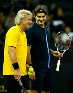 Roger Federer and Bjorn Borg during the Venetian Macao Tennis Showdown ~ 2008