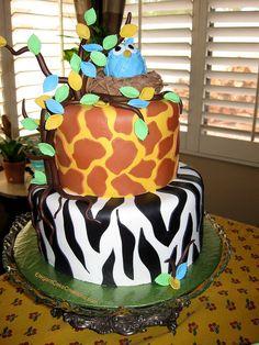 Jungle Owl Baby Shower Cake by Elegant Cake Creations AZ, via Flickr