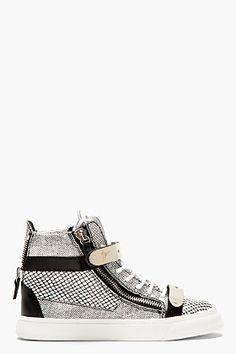 Giuseppe Zanotti Black & White Leather Mesh-print High-top Sneakers for women   SSENSE