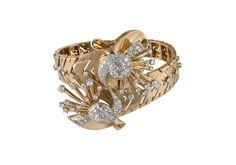 Bracelet in yellow gold set with diamonds, Oscar Heyman, circa 1940.