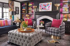 """Lisa Mende Design: The Big Reveal: """"Taylor Burke Home """"Style It Challenge Room Reveal Design Salon, Cole And Son, House Colors, Colorful Interiors, Home And Living, Living Spaces, Living Rooms, Family Room, Ottoman"""