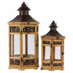 """Set of 2 gazebo-style candle lanterns.   Product: Small and large candle lanternConstruction Material: Wood and metalColor: Natural and dark brownAccommodates: (1) Candle each - not includedDimensions: Small: 18"""" H x 10"""" W x 8"""" DLarge: 27"""" H x 12"""" W x 14"""" W  x 12"""" D"""
