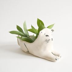 Ceramic white stoneware kitten planter #product_design