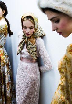 petitdictionnairelamode: A la Russe by Anastasia Romantsova Russian Beauty, Russian Fashion, Russian Style, Russian Folk, Head Scarf Tying, How To Wear Scarves, Knitting Designs, Mode Inspiration, Knit Dress