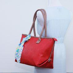 Large tote bag, Faux leather red shoulder bag, Structured tote, carry all, travel bag, school bag, everyday bag, laptop bag by bennaandhanna on Etsy