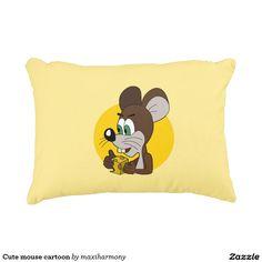 Cute mouse cartoon accent pillow