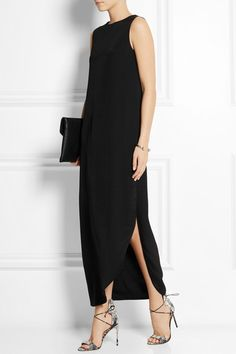 Black silk-crepe Concealed asymmetric zip fastening along back 100% silk Dry clean