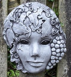 Green Lady, Beautiful, Wall Plaque. Bekki's Garden Bits Hand Mixed, Cast, Coloured and Finished Stone Garden Ornament. 16 x 5 x 19 cms, 1.10 kilograms.