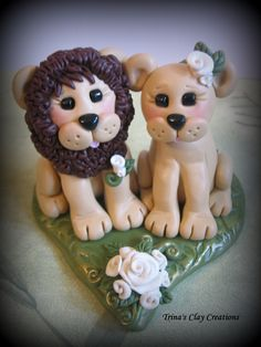 *POLYMER CLAY ~ Wedding Cake Topper, Lion and Lioness, Custom Lion Polymer Clay