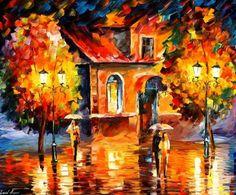 RAIN IMPRESSION - PALETTE KNIFE Oil Painting On Canvas By Leonid Afremov