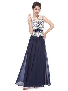 Color Block Illusion Crochet Overlay Bow Belt Waist Maxi Dress