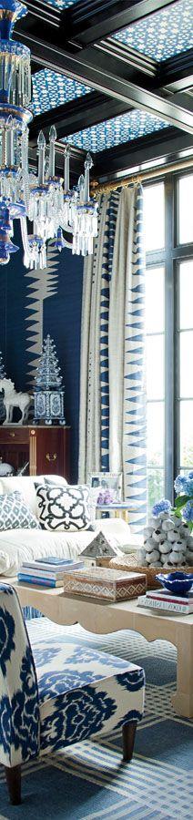 Dramatic Blue Living Room -- Luxury Interior Interiors- | ~LadyLuxuryDesigns --  photo from Veranda