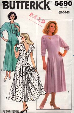 8385898a702 Butterick 5590 Womens Princess Cut Side Pleated Dress 80s Vintage Sewing  Pattern Size 14 16 18 Bust 36 38 40 inches UNCUT Factory Folded