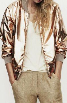 Metallic foil rose gold bomber jacket