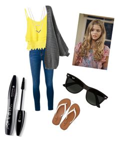 """""""Alison DiLaurentis-PLL"""" by emmatraynor on Polyvore featuring Frame Denim, Glamorous, American Eagle Outfitters, Ray-Ban, Lancôme, Michael Kors, women's clothing, women, female and woman"""