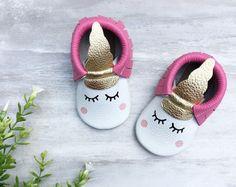 HotPink Unicorn Moccasins | Baby Moccasins, Toddler Moccasins, Pink Moccs, First Birthday Outfit, Sleepy Eyes, Unicorn Party, Boho,
