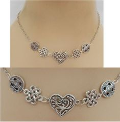 Silver Celtic Heart Strand Necklace Jewelry Handmade NEW Fashion Accessories  #Handmade #StrandString