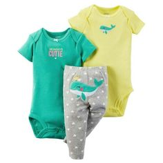 Carter's Baby Girls' 3 Piece Take Me Away Set (Baby) - Whale. 3 pc L/S Set; Cute Babies, Baby Kids, Baby Baby, Baby Whale, Carters Baby Girl, Foto Pose, Manga, Grey Pants, Girl Outfits