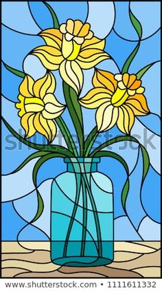 Illustration in stained glass style with still life, bouquet of yellow daffodil in a glass jar on a blue background Glass Painting Patterns, Glass Painting Designs, Stained Glass Patterns, Dot Painting, Stained Glass Paint, Stained Glass Crafts, Stained Glass Panels, Daffodil Images, Illustration